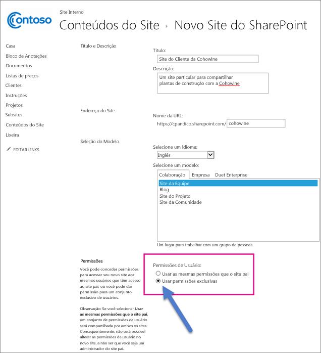 """Na nova página de sites do SharePoint, escolha a opção """"Permissões exclusivas""""."""
