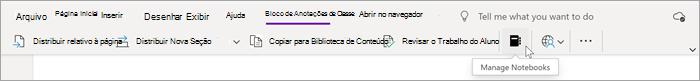 O cursor passa sobre o bloco de anotações preto na seção Bloco de Anotações de Classe do OneNote. Use este recurso para gerenciar os seus blocos de anotações de classe.