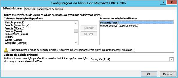 Configurações de idioma no Office 2007