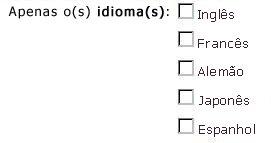 Caixas de seleção de idioma para inglês, francês, alemão, japonês e espanhol