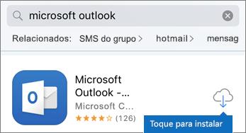 Toque no ícone de nuvem para instalar o Outlook