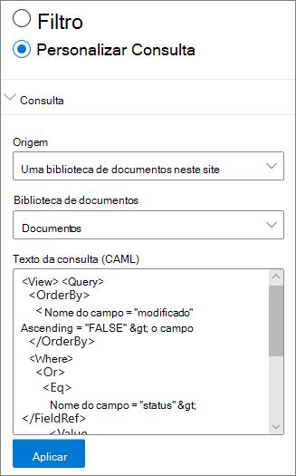 Configurações de consulta personalizadas