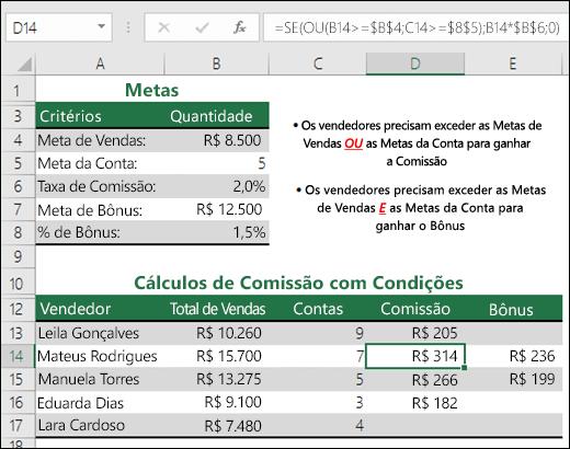 Exemplo de como usar SE e OU para calcular uma comissão de vendas.