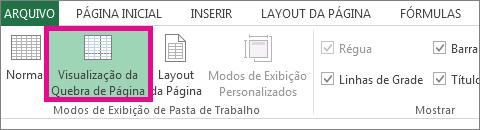 clique em visualização da quebra de página na guia exibir