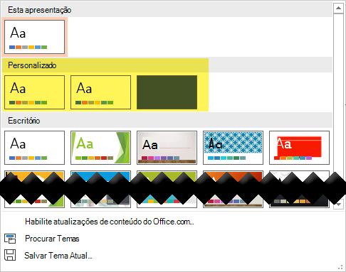 Na guia Design, modelos personalizados estão disponíveis para escolher na seção Custom da Galeria de tema
