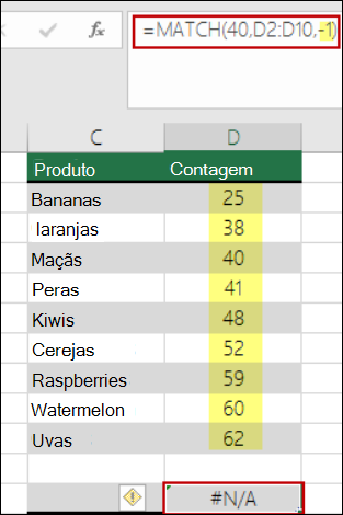 função CORRESP do Excel