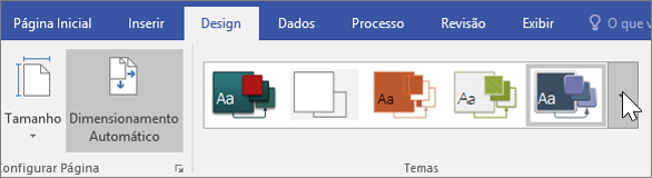 Instantâneo das opções da barra de ferramentas Design > Temas
