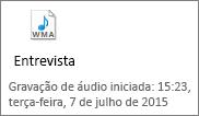 Uma amostra do ícone de áudio