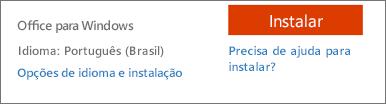 Opções de idioma e de instalação do Office 365
