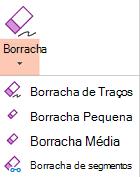O PowerPoint para Office 2019 tem quatro borrachas para tinta digital.
