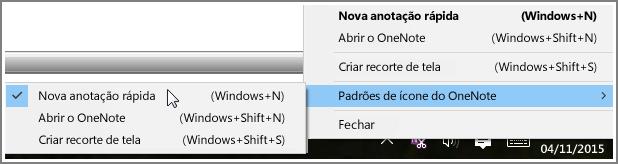 Captura de tela da bandeja do sistema com opções do OneNote.