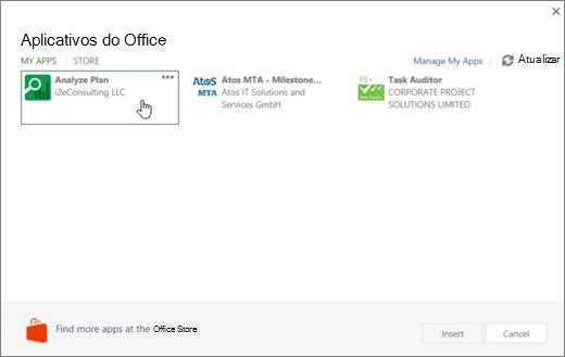 Captura de tela da página aplicativos fpr Office na seção Meus aplicativos, onde você pode acessar e gerenciar seus aplicativos do projeto.