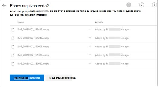 Captura de tela da tela fazer estes arquivos são exibidas no site do OneDrive