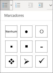 Botão de lista com marcadores selecionado na faixa de opções de menu da Página Inicial no OneNote para Windows 10.