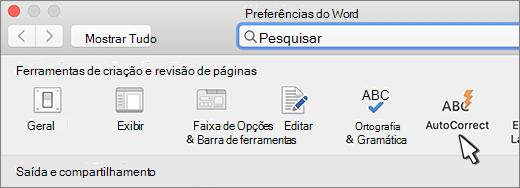 Botão AutoCorreção do Word para Mac