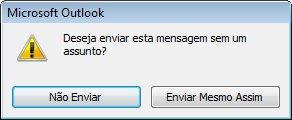 Caixa de diálogo de alerta para uma mensagem sem assunto