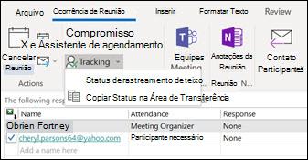 Você pode imprimir uma lista de participantes da reunião e seu status de resposta.
