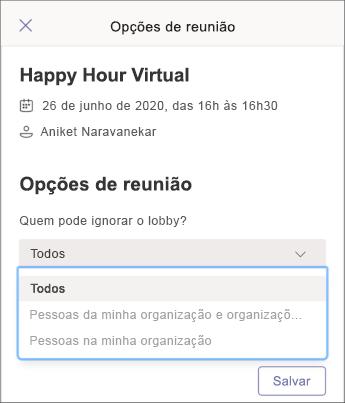 Opções de reunião-captura de tela móvel