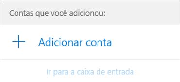 A caixa de diálogo Adicionar Conta na página inicial do Email