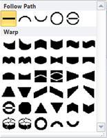 Opções para alterar formas de WordArt no Publisher 2010
