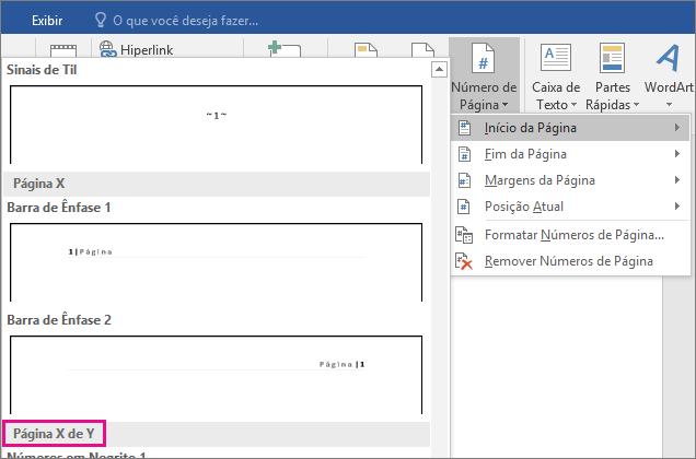 """Na galeria de estilos de número de página, role a página até localizar os estilos """"Página X de Y""""."""
