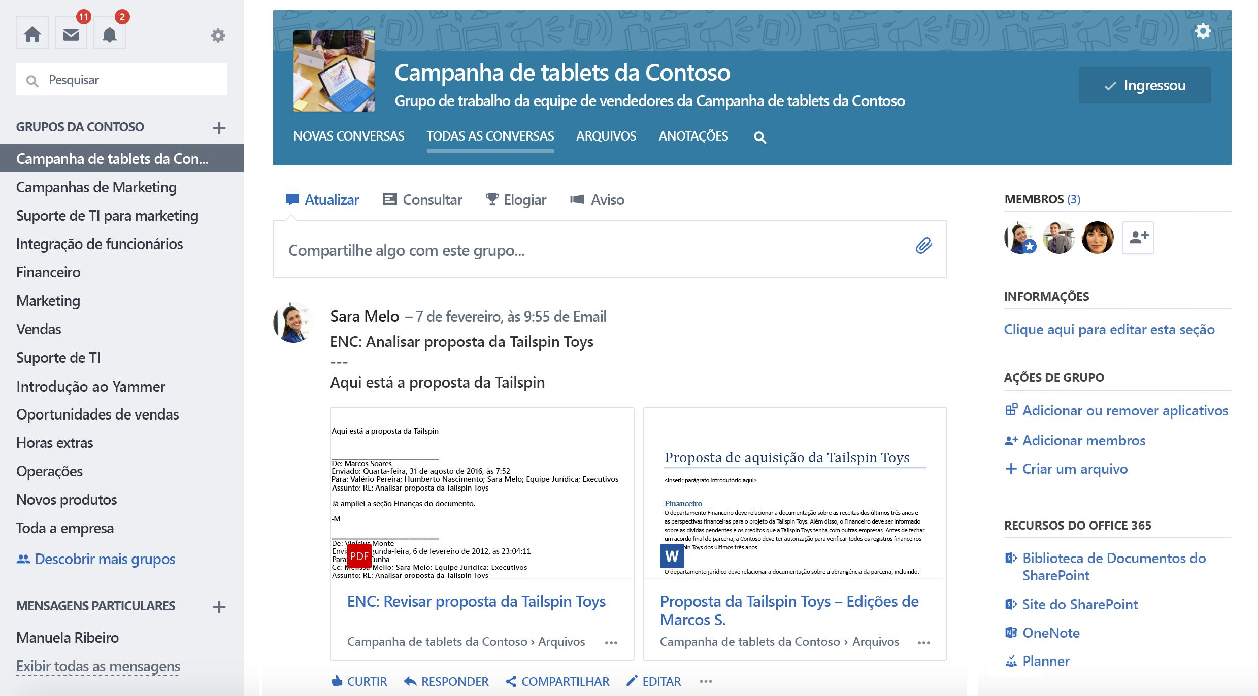 Captura de tela do Office 365 conectado conversas de grupo do Yammer