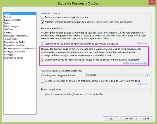 Caixa de seleção de coleta de dados do Skype for Business na caixa de diálogo Opções > Geral