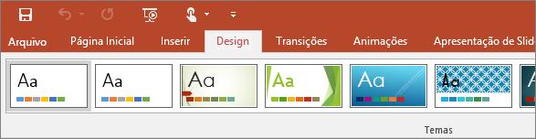 Mostra a guia Design da faixa de opções do PowerPoint