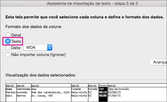 Etapa 3 do Assistente de Importação de Texto