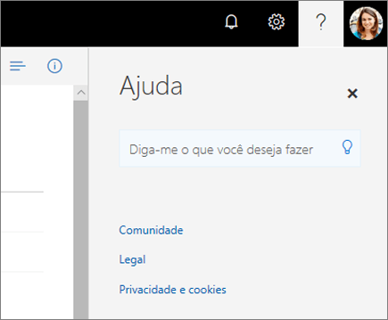 Captura de tela do painel de Ajuda OneDrive.