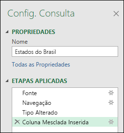 Coluna do Power Query combinar do exemplo aplicado a janela de etapas