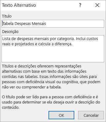 Captura de tela da caixa de diálogo Texto Alternativo