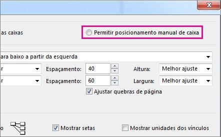 """Clique em """"Permitir posicionamento manual da caixa"""" para reposicionar uma tarefa manualmente."""
