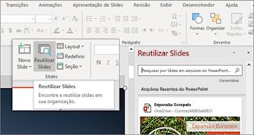Botão Reutilizar Slides e painel abertos no PowerPoint