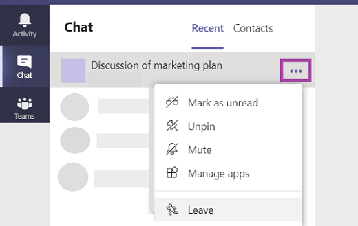 Deixe um chat em grupo no Teams.