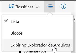 "Item do menu ""Abrir com Explorer"" realçado no OneDrive for Business"