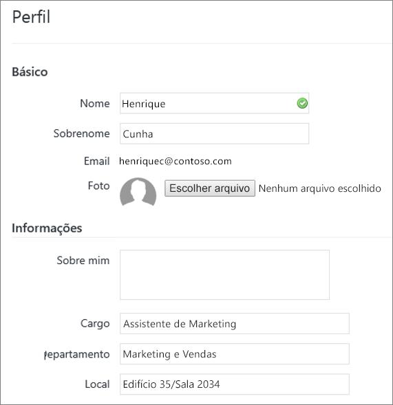 Captura de tela de edição do perfil de um usuário do Yammer
