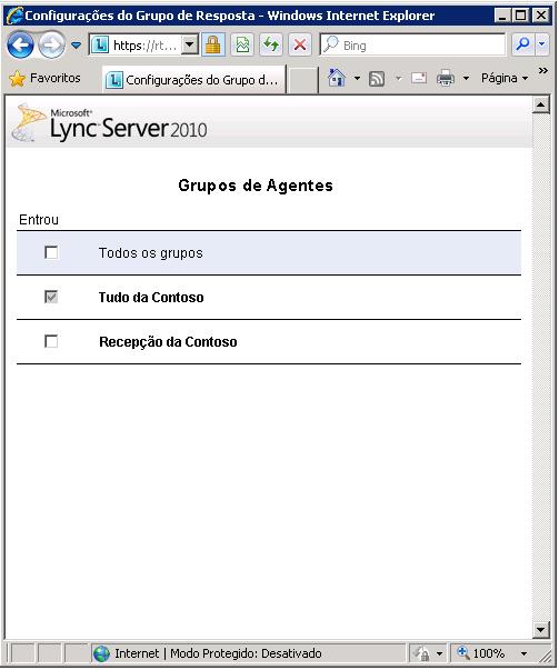 Página Grupos de Operadores
