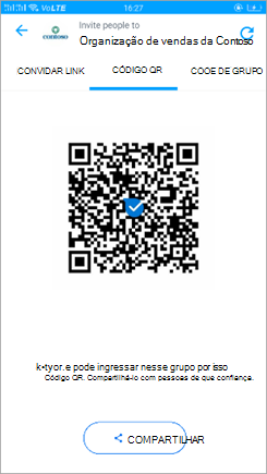 Captura de tela da página de código QR no Kaizala