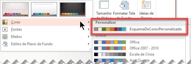 Depois que você define um esquema de cores personalizado, ele aparece no menu suspenso Cores