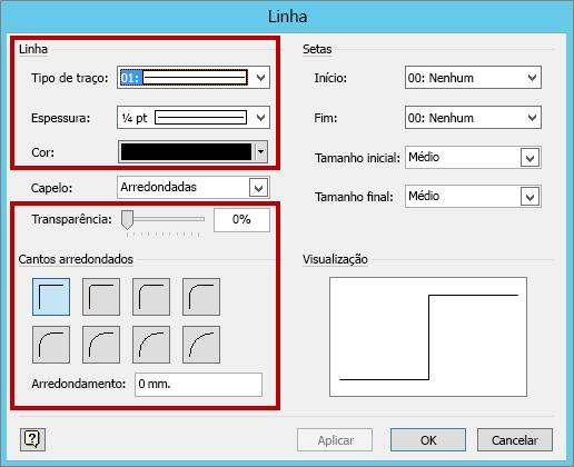 Espessura de linha e outras configurações