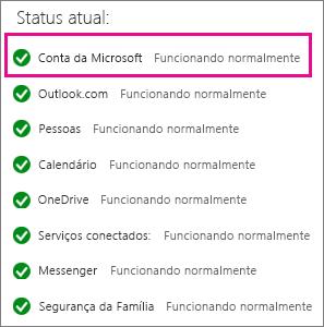 Status do serviço da Conta da Microsoft