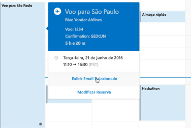 Como mostrar o cartão de viagem no Calendário do Outlook