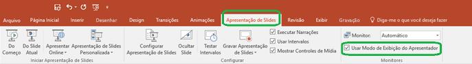 A opção Modo de Exibição do Apresentador é controlada por uma caixa de seleção na guia Apresentação de Slides, na Faixa de Opções do PowerPoint.