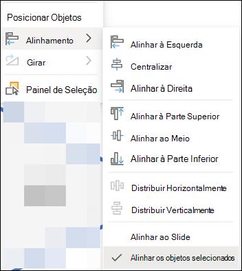 O menu alinhar no PowerPoint para a Web.