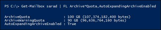 Propriedades de ArchiveQuota e ArchiveWarningQuota são ignoradas depois de habilitar expansão automática de arquivamento