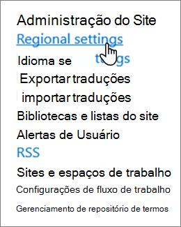 Configurações regionais de configuração de site em administração do Site