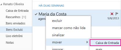 Caminho do menu a ser usado para recuperar o item da pasta Itens Excluídos no Outlook Web App