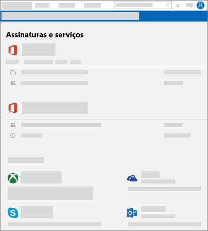 Mostra a página de serviços e assinaturas na account.microsoft.com