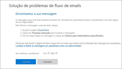 Captura de tela mostrando um exemplo de resultados da solução de problemas de fluxo de emails.